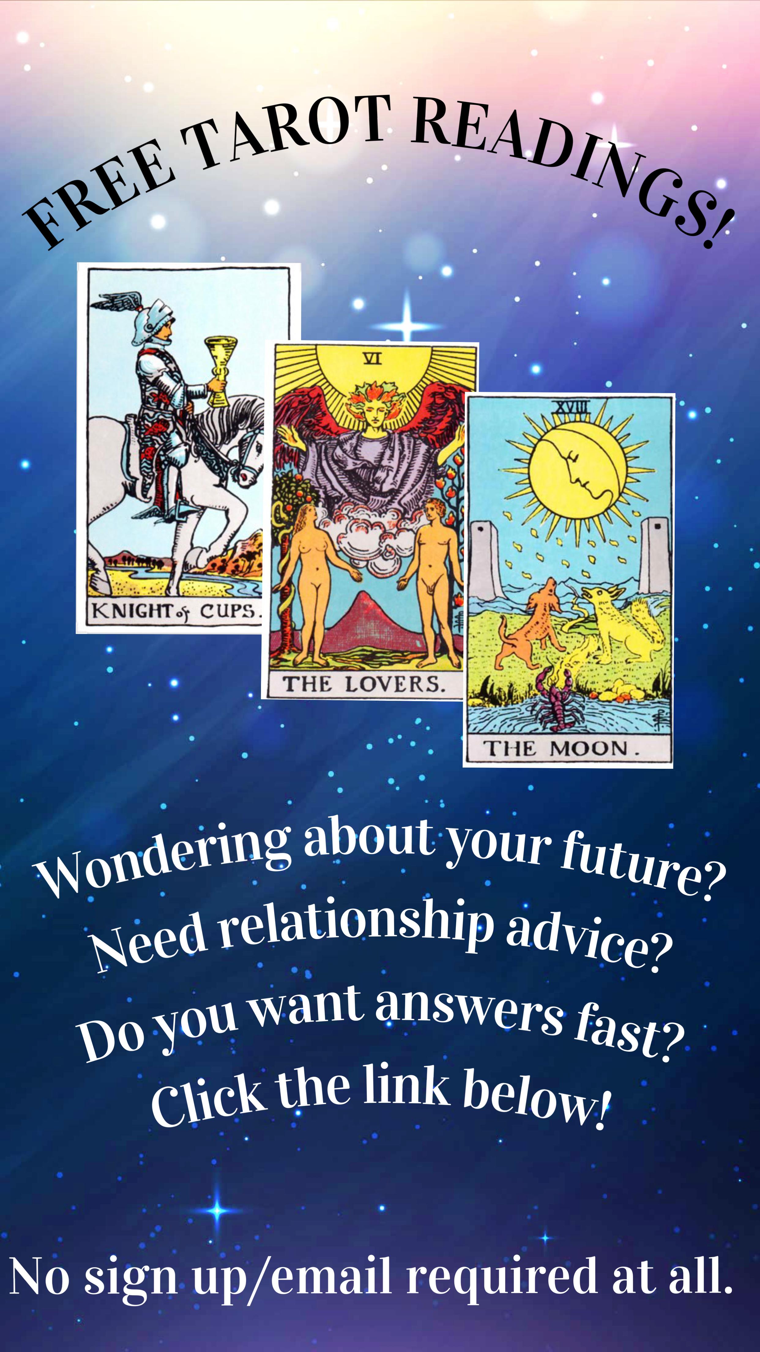 Free Tarot Readings  Free tarot reading, Reading tarot cards