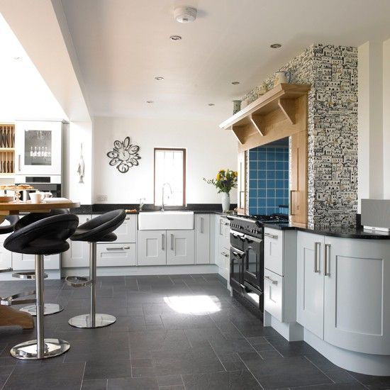 Grey Kitchen Slate Floor Interior Ideas Pinterest Slate - Slate grey kitchen units