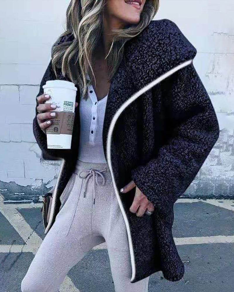 New Women Fur Collar Waterfall Cardigan Winter Fluffy Loose Coat Jacket Outwear