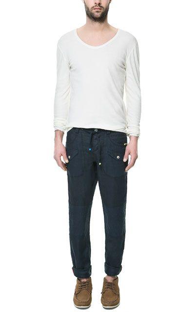 pantalon lino hombre zara
