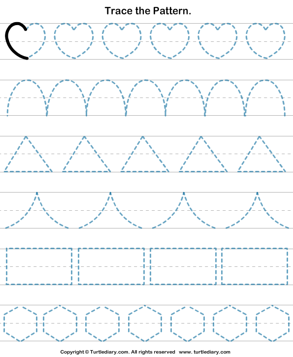 trace the pattern 4 worksheet preschool tracing worksheets preschool. Black Bedroom Furniture Sets. Home Design Ideas