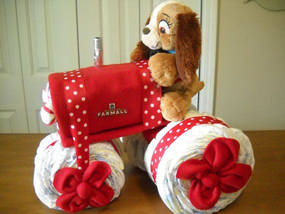 Farmall Tractor Diaper Cake by ShelvasDiaperCakes on Etsy, $58.00
