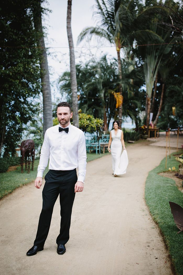 First look bride and groom for a destination wedding In Mexico | fabmood.com