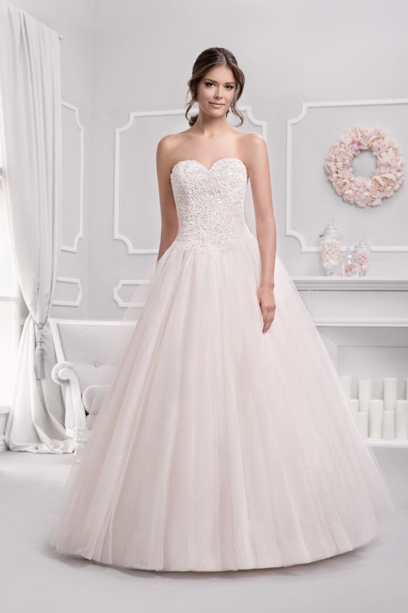 Brautkleid Prinzessin blush, glitzer Herzauschnitt, Tüllrock