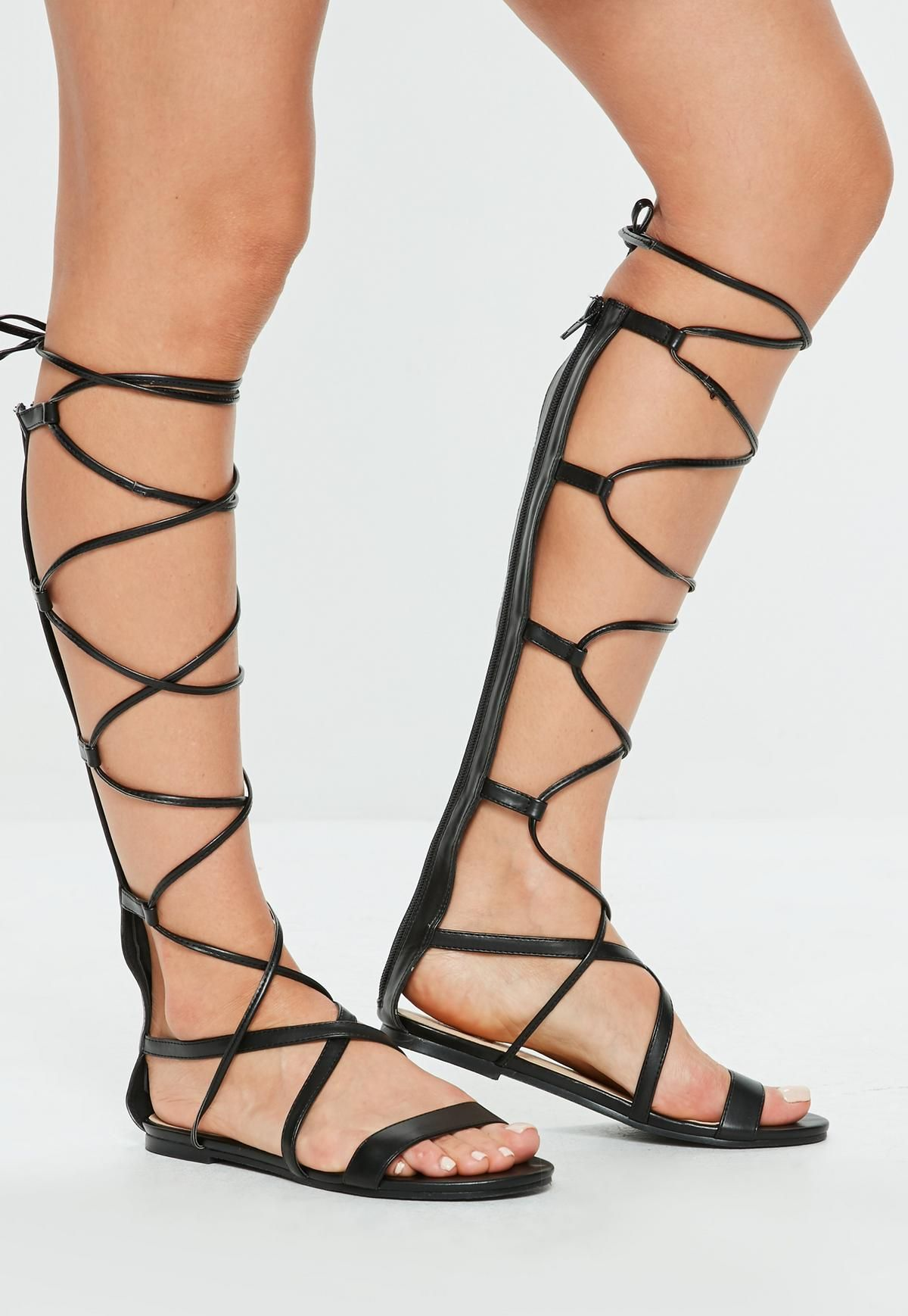 ed3edfc46d9a Black High Leg Gladiator Lace Up Flat Sandal