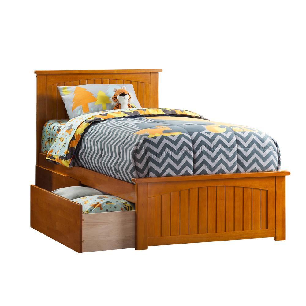 Atlantic Furniture Nantucket Caramel Twin Xl Platform Bed With