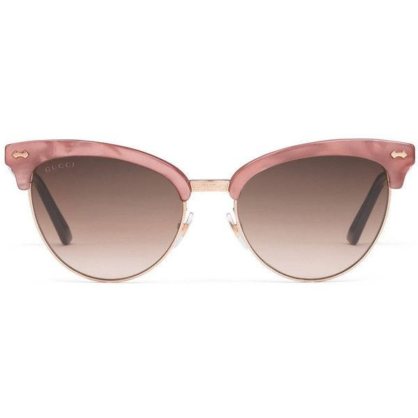 10087d4a2cc3 Gucci Cat Eye Acetate And Metal Sunglasses (€330) ❤ liked on Polyvore  featuring accessories