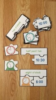 1st Grade Telling Time to the Hour and Half Hours Game Puzzles 1 MD 3 1MD3 1st Game Grade Hour Hours mathe Puzzles Telling time