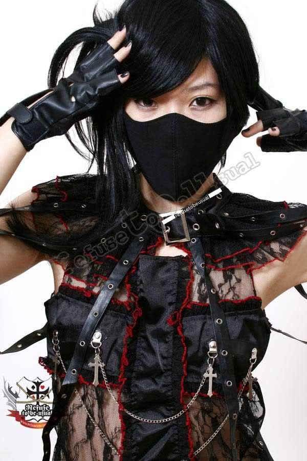 Gothic Punk Rock Visual Kei Unisex Silent ghost Criminal Black 3D Cotton Face Mask Guard Kakashi-Sensei.