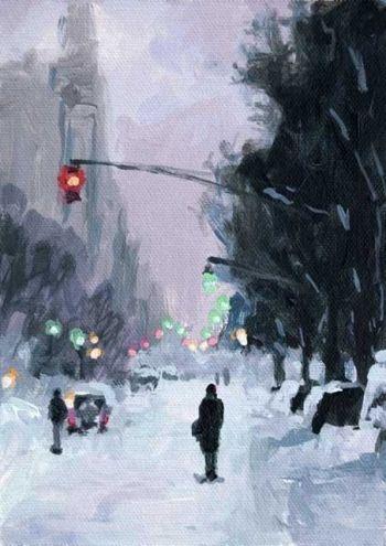 Streets of Snow Acrylic 7 x 5 Urban Snow Scene -- John K. Harrell