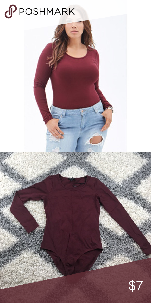 c96d7d15501d Burgundy Long Sleeve Scoop Neck Bodysuit Plus size, good condition, firm  stretch, snap crotch. Forever 21 Tops Tees - Long Sleeve