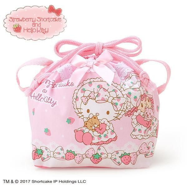 Hello Kitty × Strawberry Shortcake Lunch Drawstring Bag  76456031b13f1