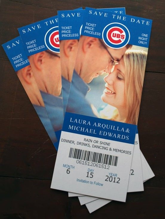Cute idea for a Save The Date! Considering Eric and I met on a blind date and he took me to a cubs game