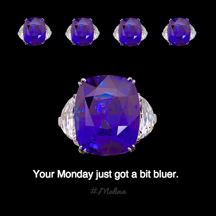 Can't stop staring?  Neither can we.  Monday, your Blues have some healthy competition. Pictured here is Molina's Platinum Sri Lanka Sapphire Ring boasting a 44 carat sapphire.