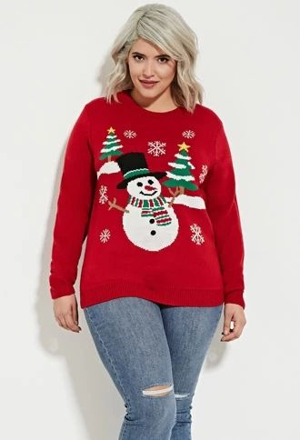 Plus Size Snowman Graphic Sweater Forever 21 Foreverfamily