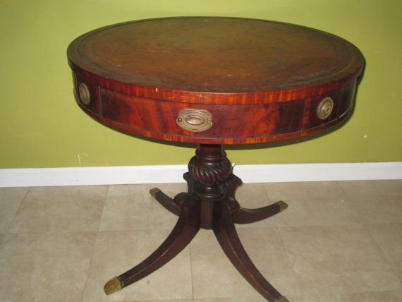 Great Leather Top Table Vintage Antique Round By VintageHomeIrina, $1150.00
