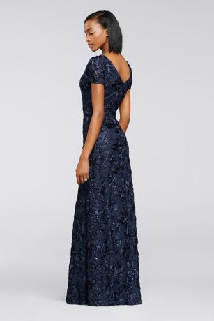 719e13b7447 This floor-length dress makes a striking impression with its allover  rosette lace accented with shimmering sequins. By Alex Evenings Lace Back  zipper  ...