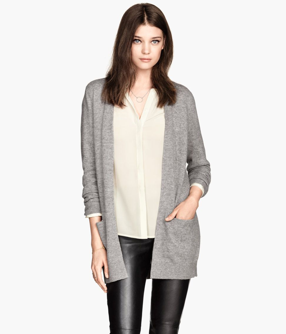 Gray fine-knit cardigan in premium-quality cashmere. | H&M Modern ...