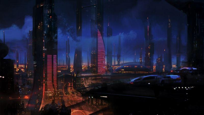 Futuristic City Wallpaper Hd: Futuristic Science Fiction City Skyline 3200x1800