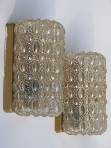 Vintage Wall Sconce Lighting Fixtures W/iridescent Bubble Glass Shades/ Sold