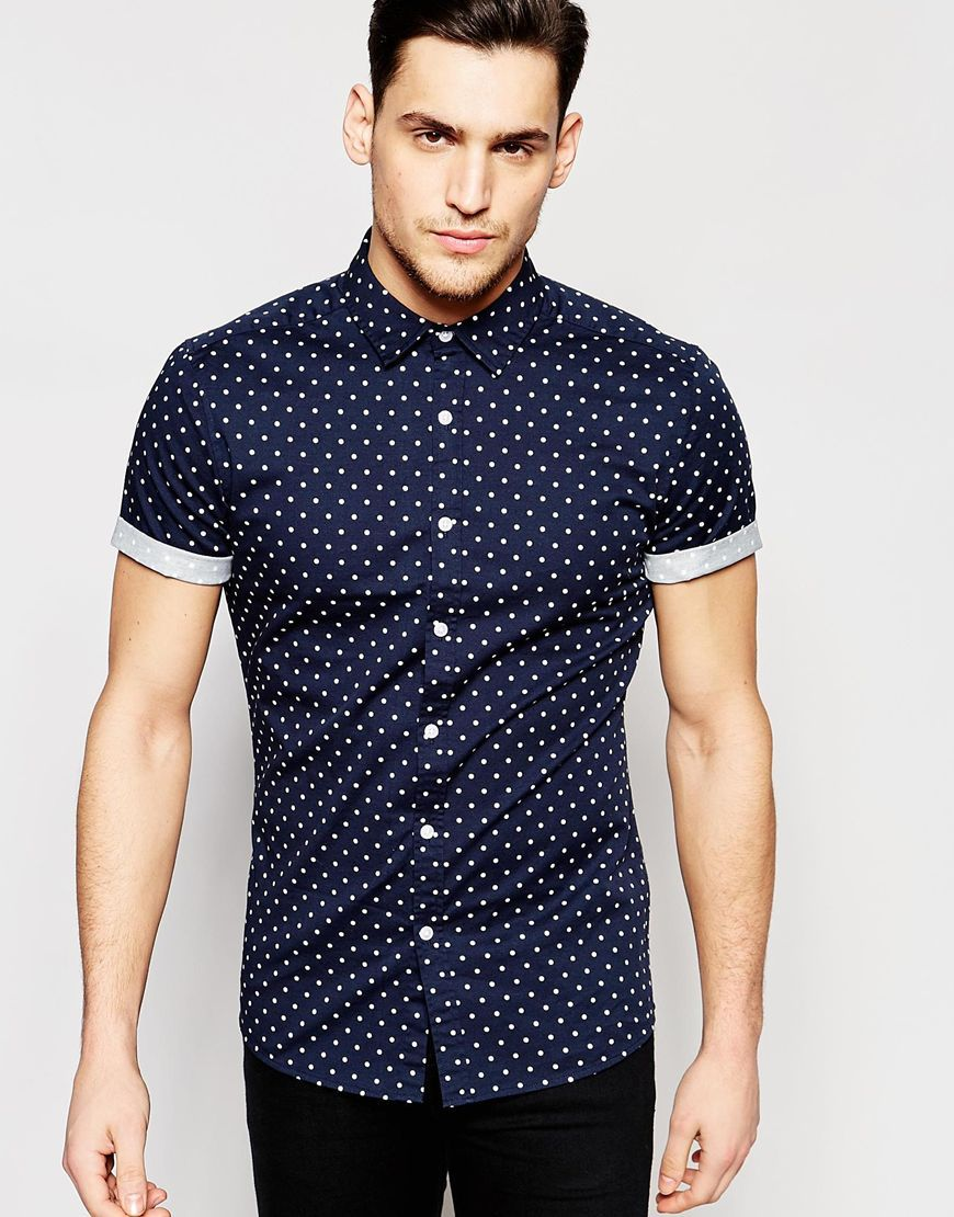 c9efd49a8d8e Image 1 of ASOS Skinny Polka Dot Shirt In Navy With Short Sleeves