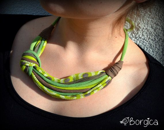 Bamboo Green and Khaki Statement Bib Necklace Hairband  by Borgica, $17.50
