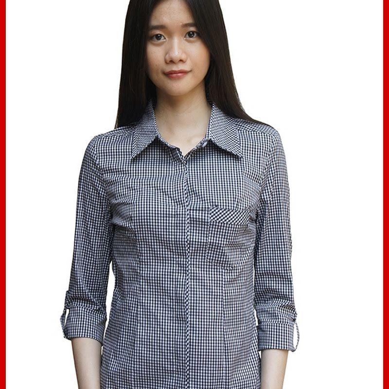 Adr022 Kemeja Wanita Hitam Kotak Kotak Import Bmg Fashion Long