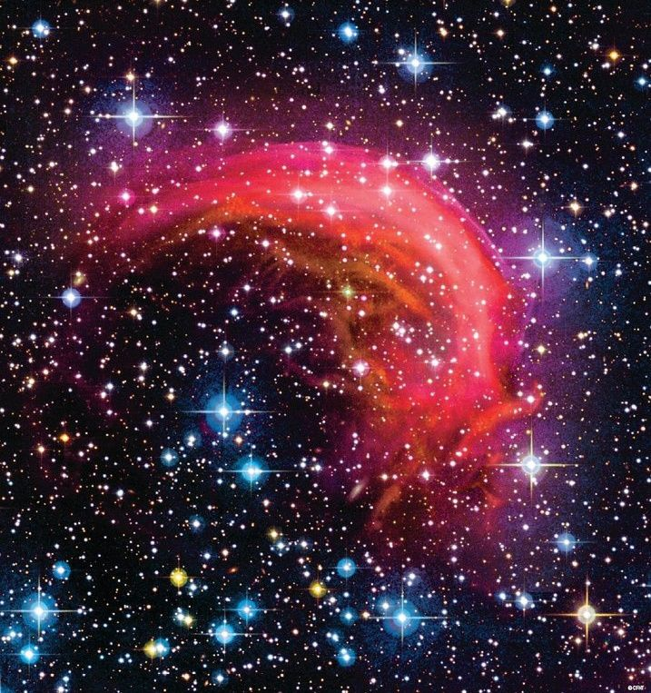 Astronomy  Picture of the Day: 11/30/13 - The Dolphin Nebula  This is SH2-188 - otherwise known as the Dolphin Nebula - a planetary nebula that's located approximately 850 light-years from Earth in the constellation of Cassiopeia A.  In the past, SH2-188 was thought to be the remnant of a supernova explosion that appeared in 1965 (it took the light 850 years to reach us), but the nebula was later confirmed to be an asymmetrical planetary nebula with a crescent-like shape.