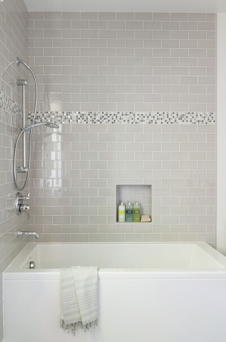 Kids bathroom in Los Angeles home, grey tile, metallic ...