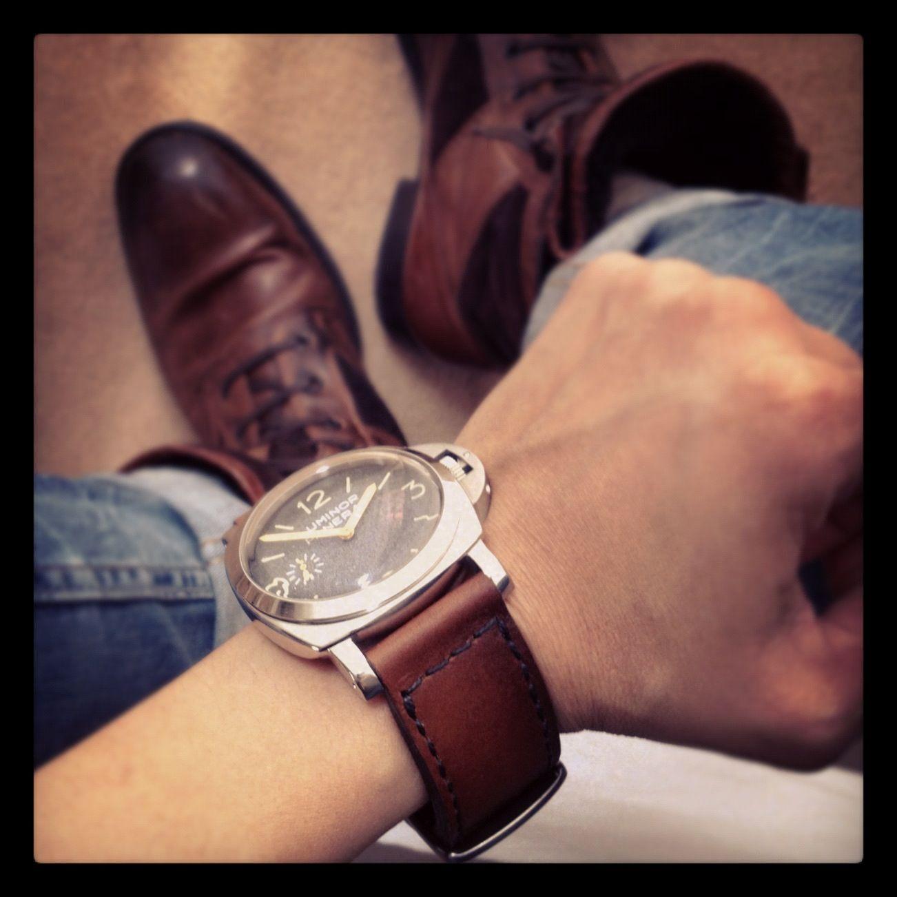 Vintage Panerai Luminor 6152/1 on  Brown Bas and Lokes Handmade Watch Strap <3