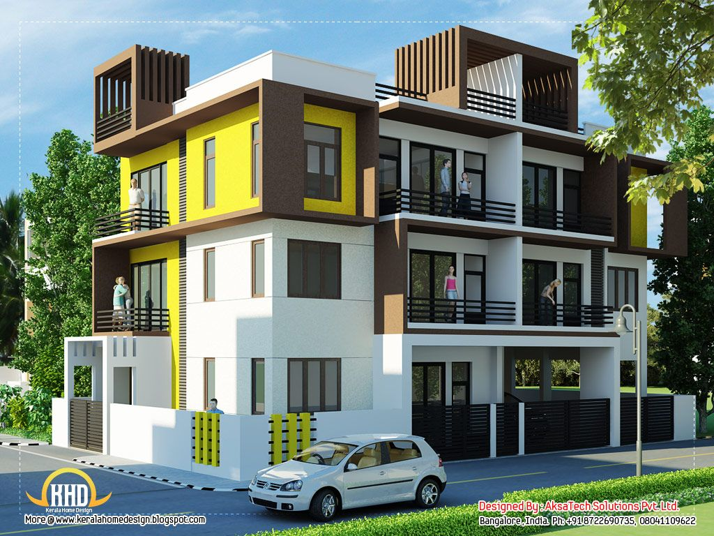 Modern contemporary home elevations kerala home design for Simple house elevation photos