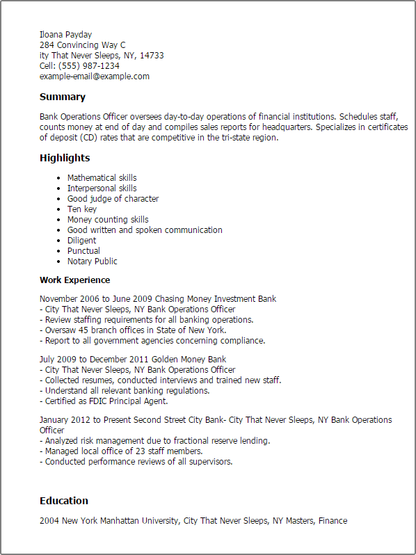 Professional Bank Operations Officer Templates To Showcase Your Talent Myperfectresume Resume Sample Resume Resume Examples