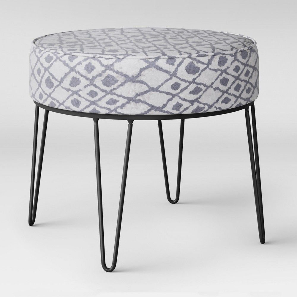 Carman Round Ottoman With Hairpin Legs Gray Ikat Project 62