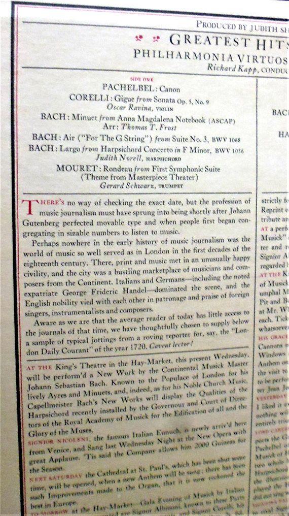 Greatest Hits of 1720, Philharmonia Virtuosi of New York, Richard