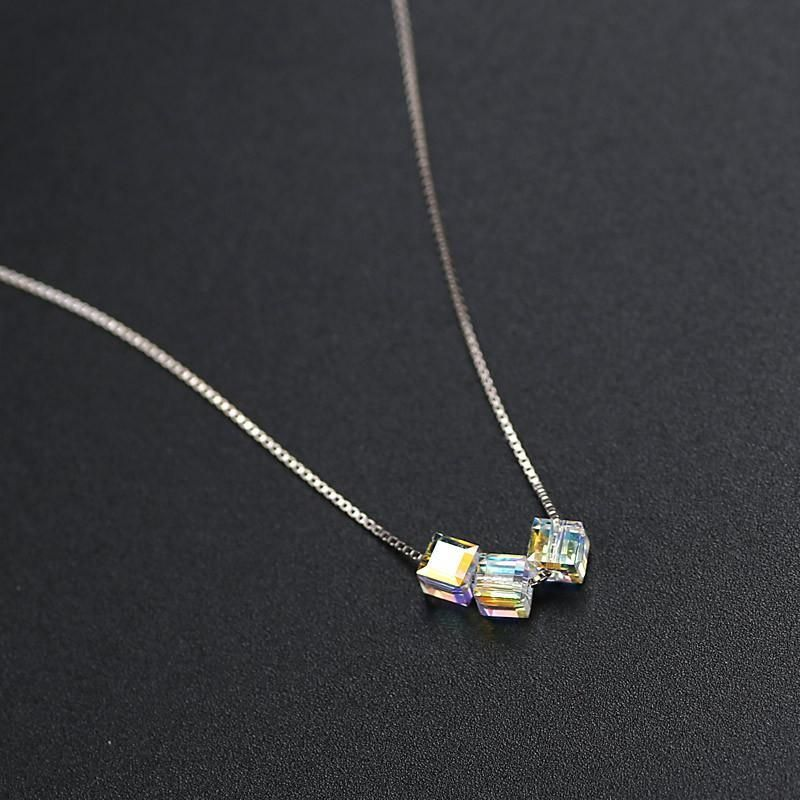 Austrian Crystal Cube Sterling Silver Necklace