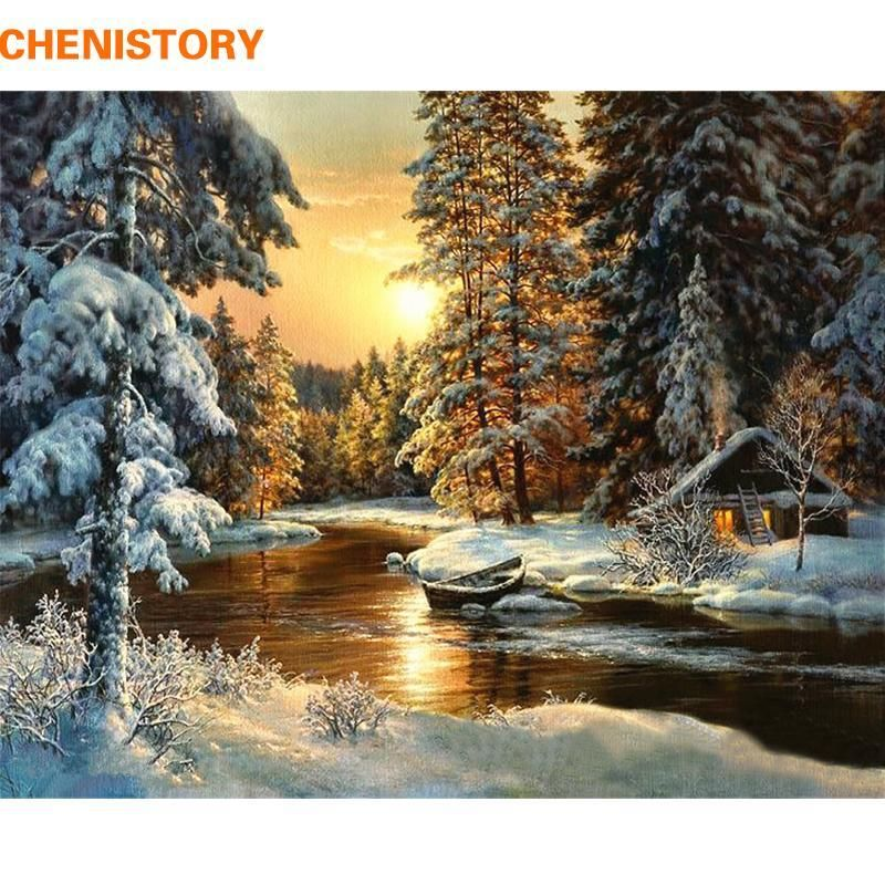CHENISTORY Sunset Forest DIY Painting By Numbers Canvas Wall Art Picture Painting Calligraphy For Living Room Home Decor 40x50cm #calligraphy