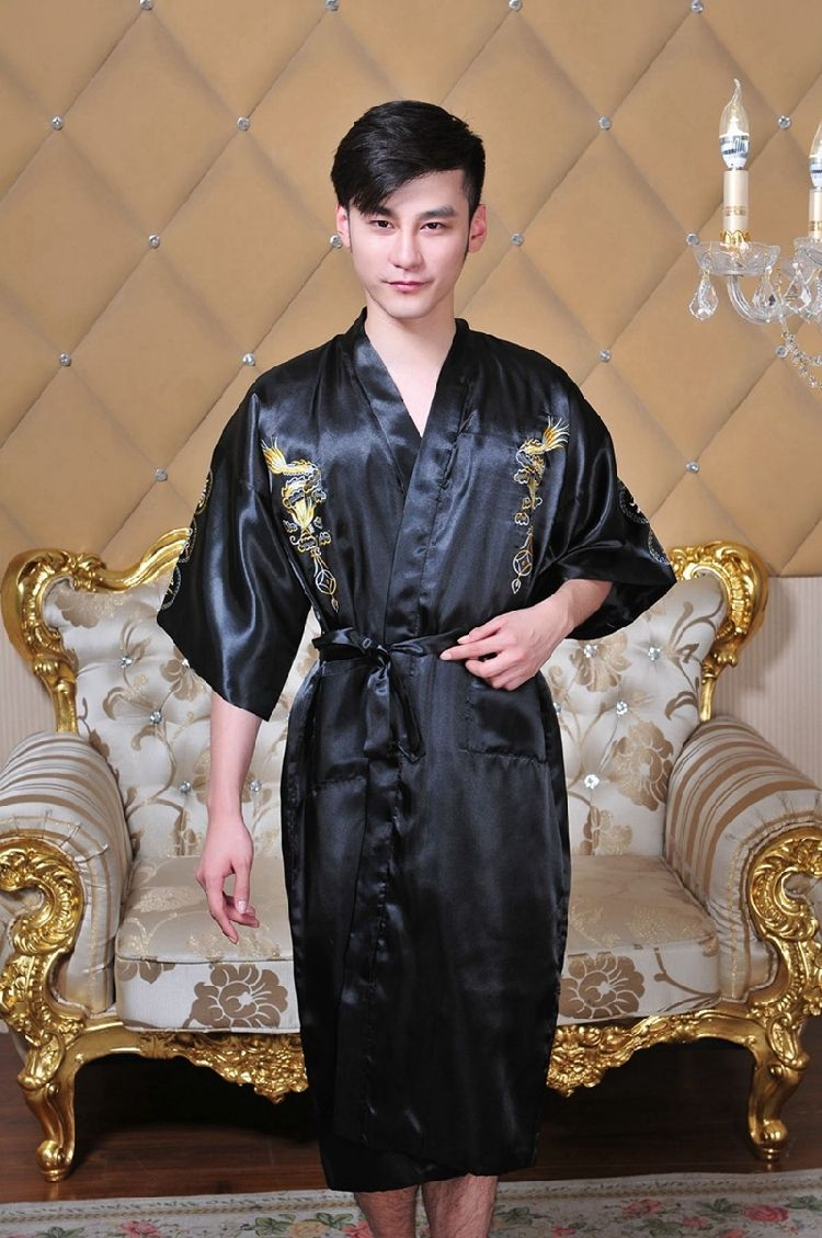 40001530ae Free shipping hot sale Navy Blue Chinese Men s Silk Satin Embroider Kimono Robe  Gown Dragon 5