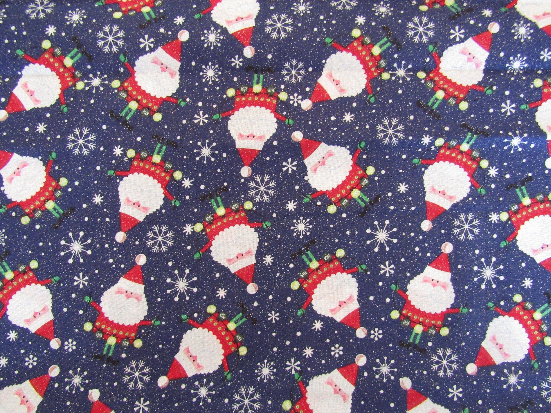 Santa Fabric 100 Cotton Fabric Fabric By The Yard Christmas