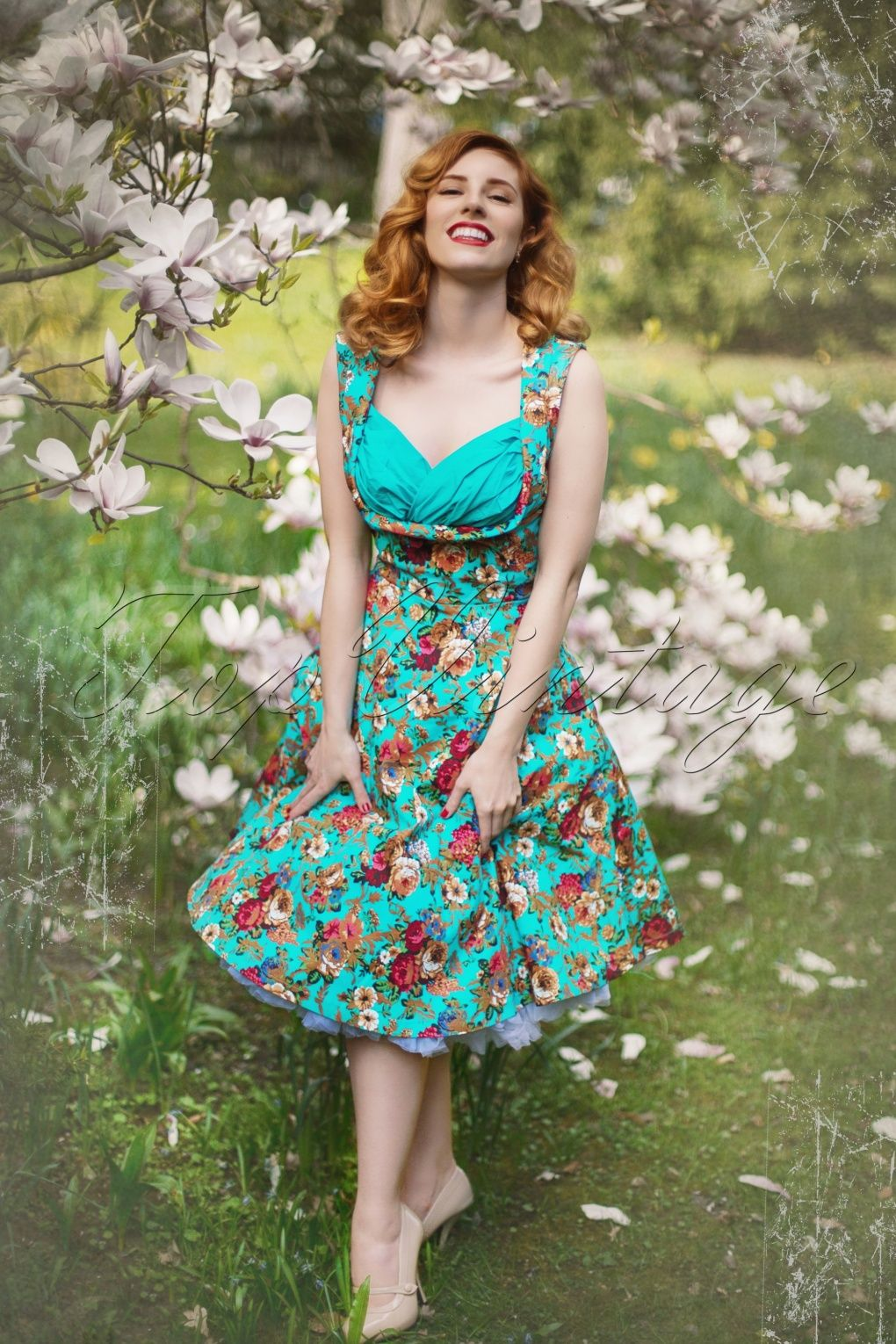 50s Ophelia Floral Spring Garden Party Dress   Floral, Spring and ...