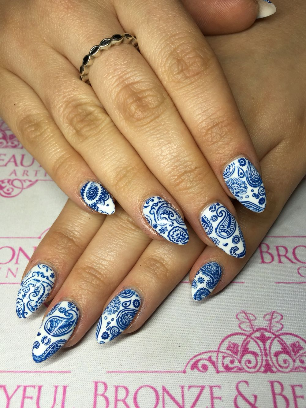 Paisley Moyou Stamping Teacup Porcelain Pottery Nails Nails