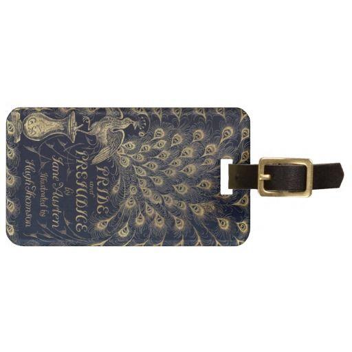 Antique Jane Austen Pride and Prejudice Peacock Bag Tag