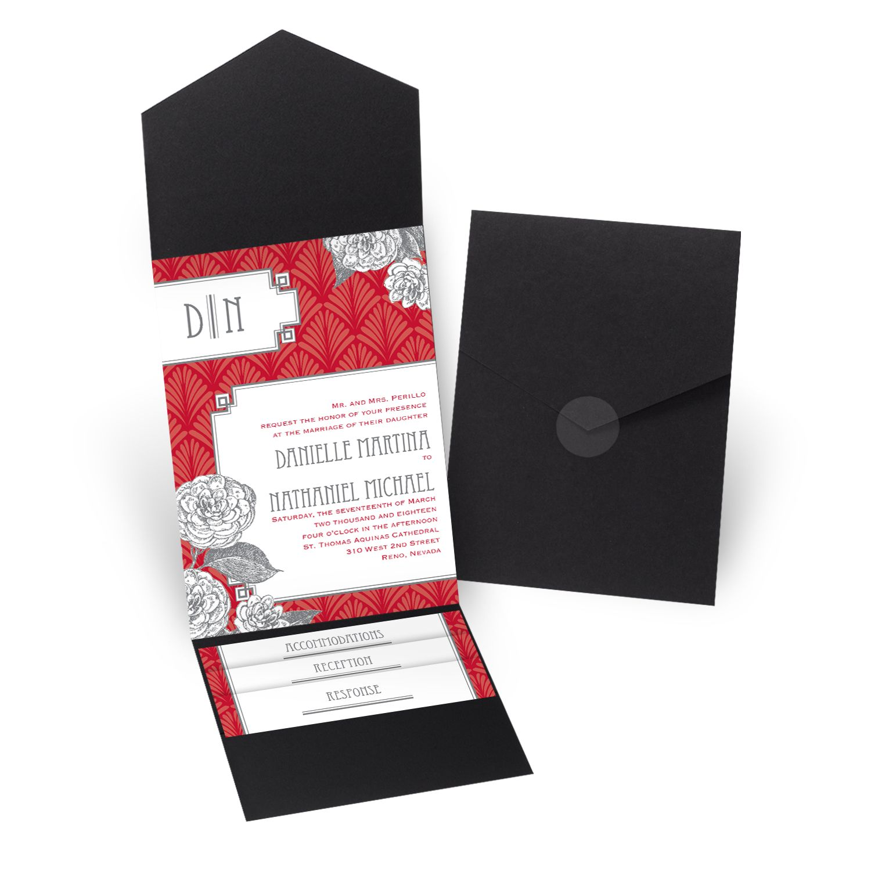 Forever Vintage Pocket Wedding Invitation - Black | David Tutera ...