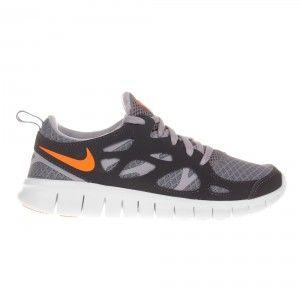 cde00f14ce053 Nike Free Run 2 Kids Trainer - Grey   Orange   Anthracite