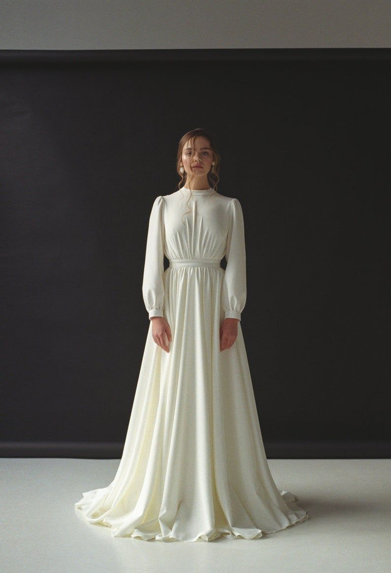 Long Sleeve Wedding Dress Modest Boho Wedding Dress Minimalist