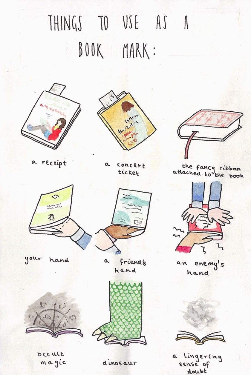Things to use as a bookmark (cartoon)