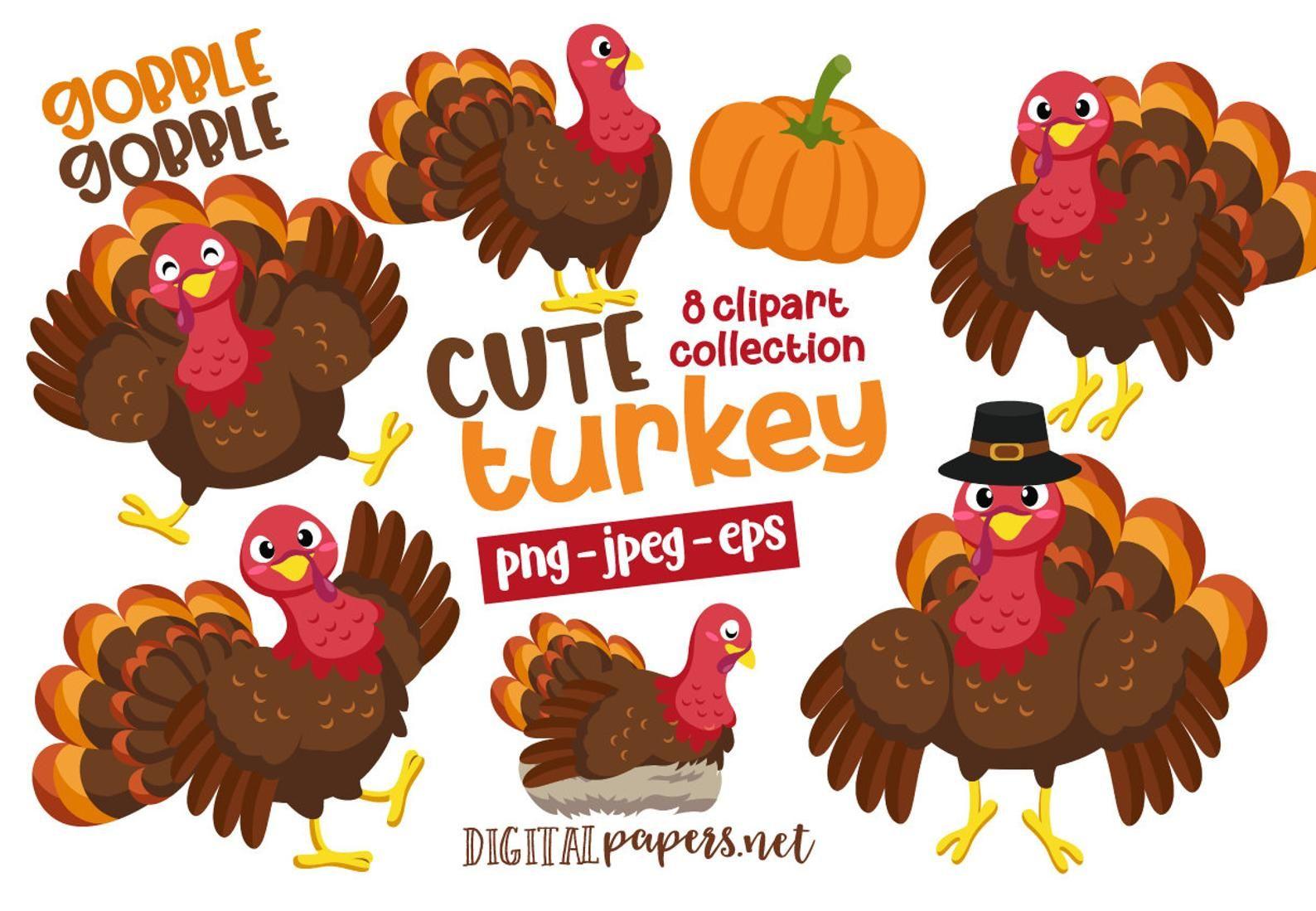 Turkey Clipart Thanksgiving Clipart Turkey Day Cute Turkey Etsy Clip Art Turkey Clip Art Turkey