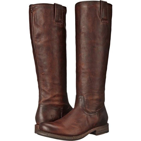 Frye Jenna Inside Zip (Dark Brown Full Grain Leather) Women's Boots ($220)  ❤ liked on Polyvore featuring shoes, boots, brown, knee-high boots, ...