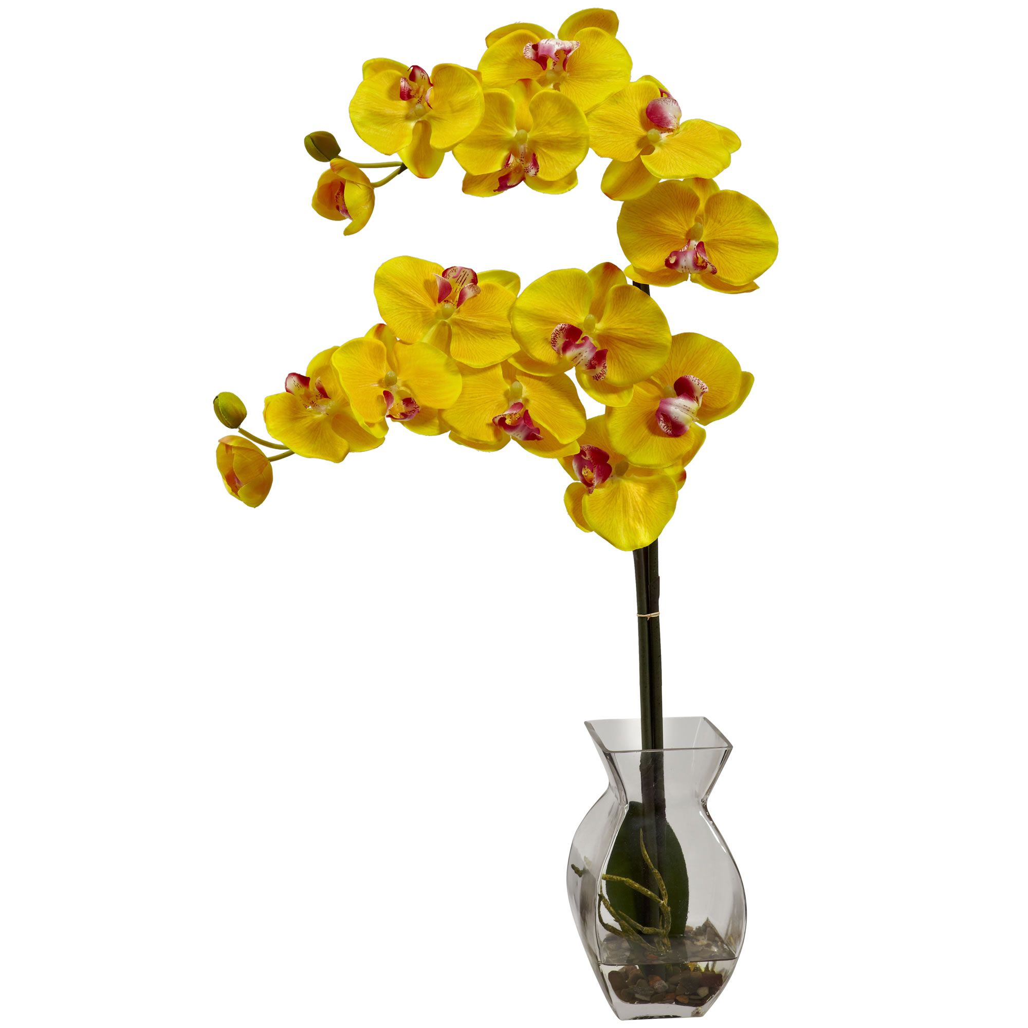 24 H Faux Yellow Phalaenopsis Orchid In Vase Arrangement With Images Orchid Vase Silk Flower Arrangements Orchids In Water
