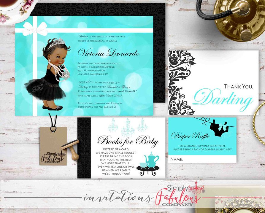 baby shower invitation wording for bringing diapers%0A Breakfast at Tiffany u    s Baby Shower Invitation Bundle  Tiffany Baby Shower   Diaper Raffle  Books