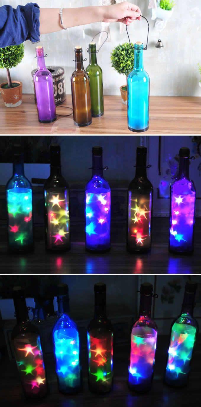 USB Powered Colorful Led String Lights in Glass Bottle | Lighting ...